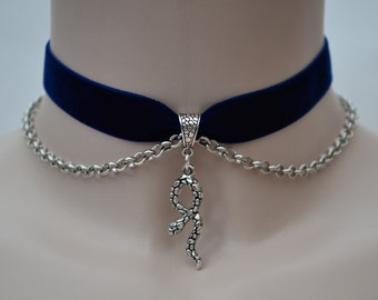 Curly SNAKE Charm With Chain Navy BLUE Velvet Ribbon Choker Necklace -sf... or choose another colour velvet :)