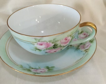 Pink Roses Floral Germany Cup & Saucer Hand Painted