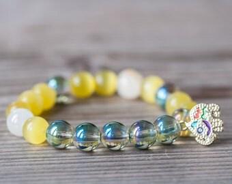 Summer Bracelet, Summer Jewelry, Yellow Bracelet, Elephant Charm Bracelet, Budget Summer Jewelry, Gift For Friend, Summer Fashion, Bracelet