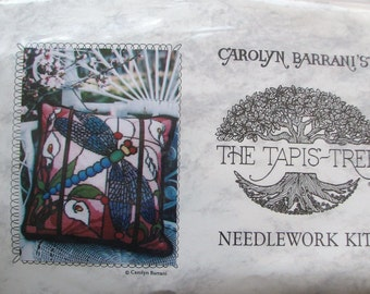 Tapis Tree Stained Glass Dragonfly Needlepoint Kit Carolyn Barrani