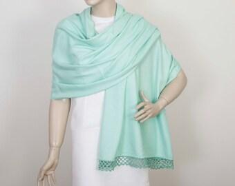 Wedding  shawl,Bridesmaids shawl gifts, Pashmina shawl,maid of Honor gift , with handmade lace, mint