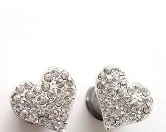 "12mm 1/2""Heart Double Flared Rhinestone Plugs Steel Double Flared Plugs for Stretched Ears -Wedding"