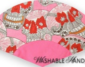 Washable Hand Fan Traditional Sugar Skulls on Pink