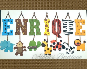 3 LETTERS - Individually Hanging Block Letter with adorable hanging shapes/animals - ANY theme