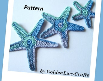 Sea Star Crochet Pattern, Starfish, Appliques