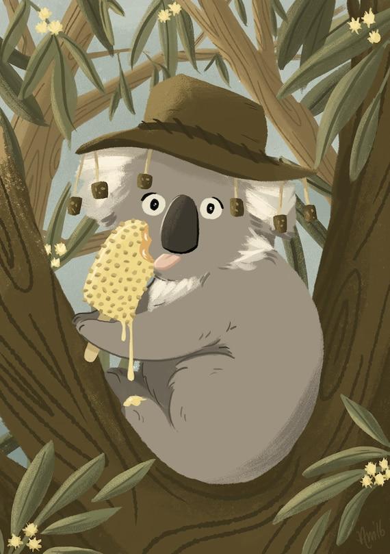 "Koala Print - Australian Animal Print- 5""x7"" Print"
