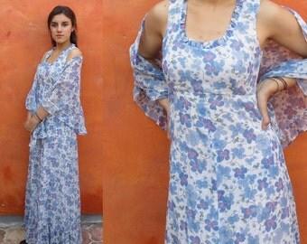 SALE Vintage 1970s blue floral maxi dress with matching wrap shawl. boho gypsy revival dress. hippie festival coachella