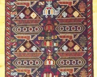 """Vintage Hand Knotted  WAR RUG Runner from Afghanistan with Tanks, Helicopters  2'11""""x9'2"""""""