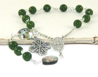 Single Decade Catholic Pocket Rosary, Greenstone & Paua, New Zealand Made