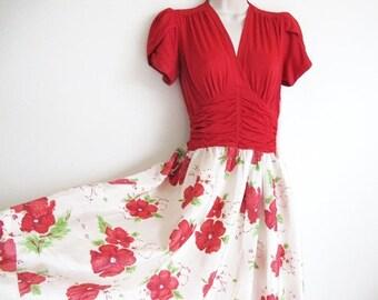 Valentine 1/2 Off Sale Vintage 30s Gown, Christmas Dress, Red Flower Print Dress, 1930s Long Floral Dress,
