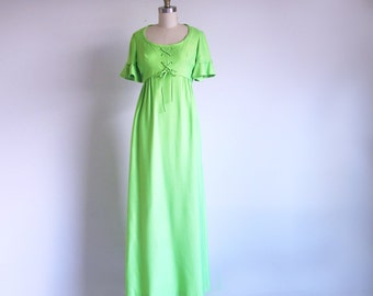 Vintage Green Gown, 60s Empire Waist Dress, California Designer, Emma Domb Dress, Union Made in the USA