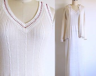 Vintage 70s Sweater Dress and Cardigan, Slinky Knit, Beaded Tank Maxi and Jacket