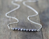 Tiny Gray Pearl Silver Necklace / Iridescent Freshwater Pearl Nuggets and Sterling Silver Chain