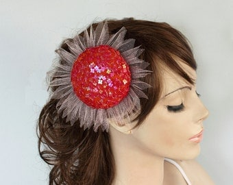 Bridal Pillbox Hat, Red Cocktail Party Hat, Dazzling Sequined Hair Fascinator, Modern Fall Wedding Unique Item, Handmade