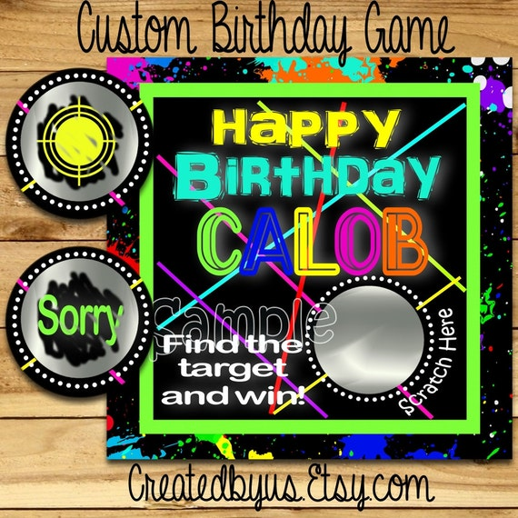 Happy Birthday Scratch Off Cards Laser Tag Birthday Party Game