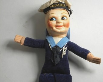 60's Souvenir Sailor Doll from English Ocean Liner SS Arcadia