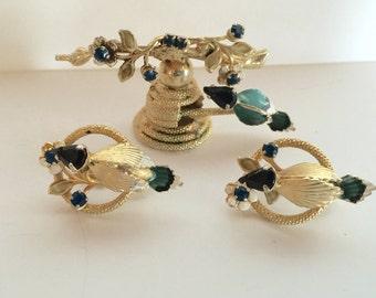 Rhinestone Bird Bird Nest Brooch matching Clip Earrings Vintage lot 888