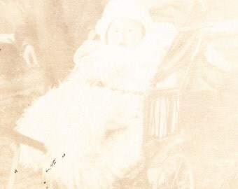 Old Photograph Postcard Baby in a Baby Carriage Vintage Photo Paper Ephemera Snapshot Photo Collectibles