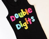 Front back Neon double digits fun for 10 years -  personalized applique SHIRT, girl tween birthday number I'm Finally 10 on back