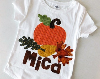 Girl or boy toddler, baby shirt fun fall autumn leaves, pumpkin, personalized name applique, brown, orange, gold NB -16 fun for Thanksgiving