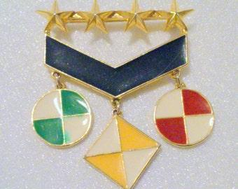Vintage Multi Color Enamel Nautical Charm Brooch