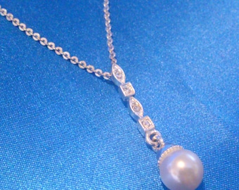 Vintage Avon Faux Pearl and Rhinestone Silver Tone Drop Necklace