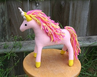 Spring Flower Unicorn Fantasy Plush ~ Stuffed Animal Toy, Handcrafted, Pink and Yellow, Girls Gift, Eco Friendly, Unicorn Plushies, Custom