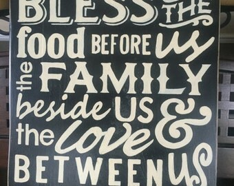 Bless The Food Before The Family Beside and Love Between Us Sign Wall Plaque Kitchen Dining Decor Wood U Pik Color Farmhouse Country Living