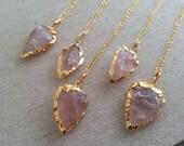 Arrowhead Necklace. Rose Quartz Arrowhead. Gold Plated Chain. Gold Edged Arrowhead. Layering Necklace. Large Arrowhead Pendant