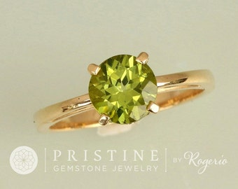 Peridot Yellow Gold Solitaire Ring Scroll Design Ring August Birthstone Gemstone Jewelry