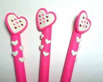 New Cute Handmade Polymer Clay Writing Fimo Pen Cartoon Pink hearts
