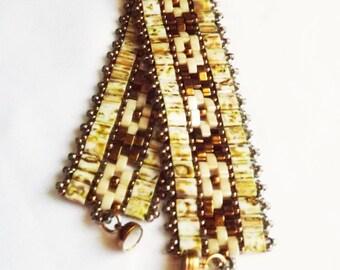Handcrafted Bracelet in Brass, creamy jasper, and Cream Tila, Half Tila, and Seed beads