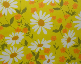 White Daisies and Orange flowers on Vintage Sheet Fat quarter