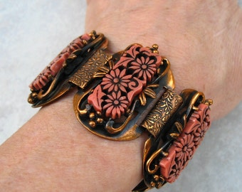 Vintage Selro Wide Bracelet Carved Floral Salmon Thermoset Copper Tone