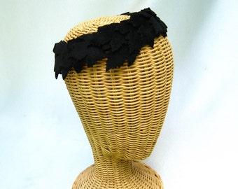 Vintage Ladies Halo Hat Black Felt Leaves Appliqué