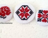 Cross Stitch Traditional Brooch 5 pieces