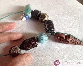 Talisman Totem Handmade Artisan Ceramic Bead Necklace with hibiscus flower