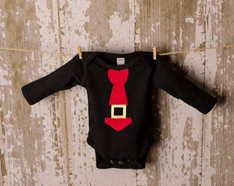 Santa Tie Bodysuit  available in bodysuit 0-3 months to 18 months.  Shirt sizes 2T, 4T, or 6T