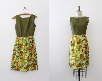 vintage 1960s dress // 60s green and floral dress xxsmall