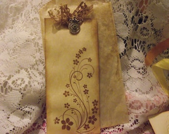 Handmade  Coffee Stain Tags  For Scrap Booking , Junk  Journal, Book Marks,  gift giving,