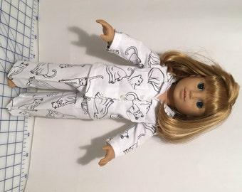 "American Girl Pajamas, 18"" doll pj's, flannel, cats"