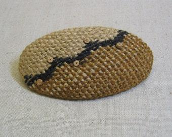 Vintage Brown Burlap Oval  Hair Barrette