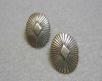 Southwestern Pierced Earrings, Pewter Conch Style