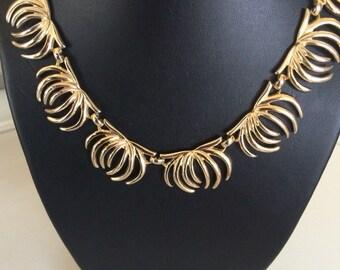 Monet Signed  Vintage Decorative Link Collar Necklace