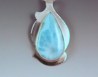 Larimar- Abstract Design- Azure Blue Beauty- Sterling Silver- Metal Art Pendant