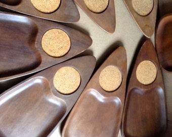 8 Vintage Hand Carved Hardwood and Cork Snack tray Coasters.  Made in Japan, Serv Wood.  Mid century, Eames Panton era.