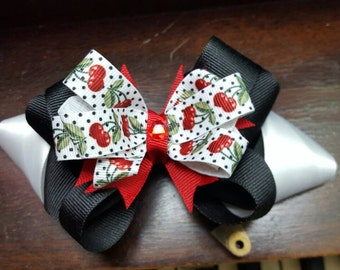 """5.5"""" Twisted Cherry Stacked Boutique Bow"""