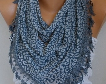 Gray Leopard Print Combed Cotton Scarf, Birthday Gift Animal Scarf Cowl Scarf Gift Ideas For Her Women's Fashion Accessories