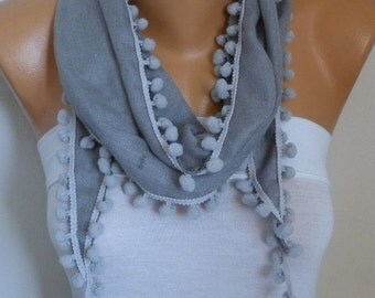 Silver Gray Pashmina Pompom Scarf,Cowl, Bridesmaid Gift,Gift Ideas For Her,Women Fashion Accessories,Women Scarves