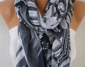 Gray Southwestern Scarf Bohemian Scarf Aztec Scarf Tribal Scarf Shawl Multicolor Cotton Scarf Gift Ideas For Her  Women Fashion Accessories